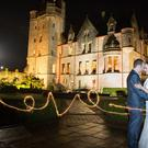 Barbara and Simon Warnock at Belfast Castle following their wedding at Bloomfield Presbyterian Church