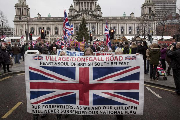 Loyalists on the march in Belfast city centre on Saturday