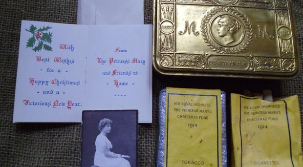 The perfectly preserved Great War present sent to Eddie's soldier uncle by Princess Mary, which is now back in the family