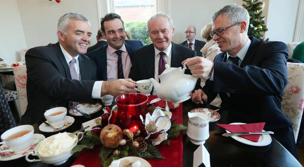 Deputy First Minister Martin McGuinness, junior minister Jonathan Bell, Shane Finnegan and Joe Brolly at the launch of Organ Donation Family Discussion Day yesterday