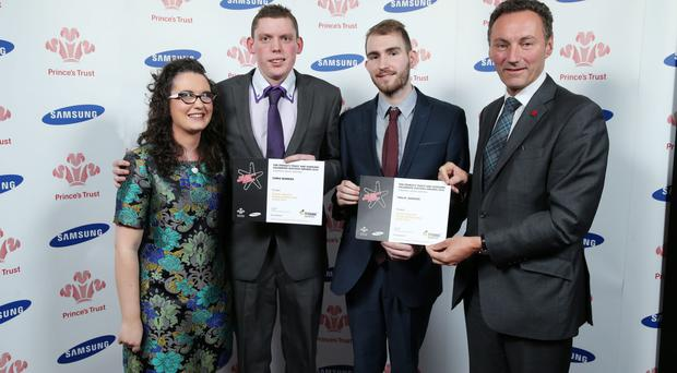 Young Ambassador Award runners-up Chris Bowers and Philip Jamison with David Gavaghan, chief executive of award sponsors Titanic Quarter Ltd, and singer Andrea Begley at the Prince's Trust and Samsung Celebrate Success Awards event last night