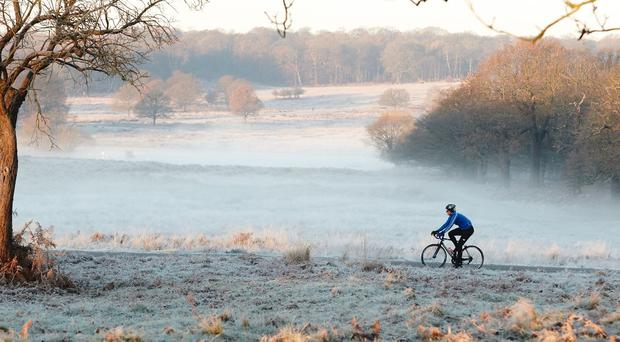 A cyclist makes their way through Richmond Park, south west London, as much of the UK woke up to a frosty morning