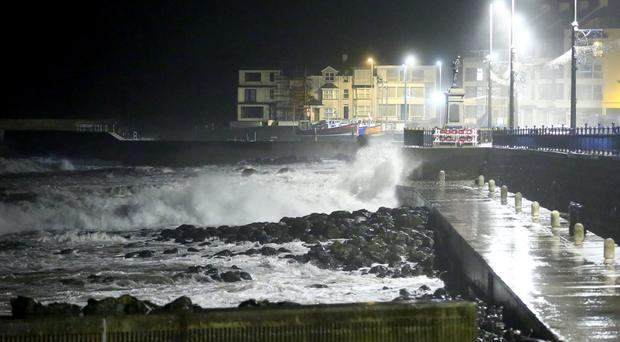 Wind and waves striking the Portstewart harbour