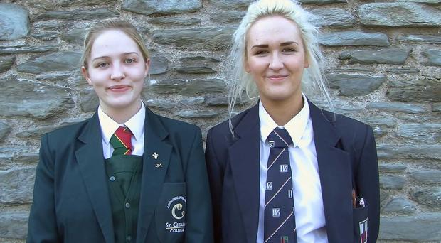 Courtney Cooke from Lisneal College (right) and Yvonne Weir from St Cecilia's College