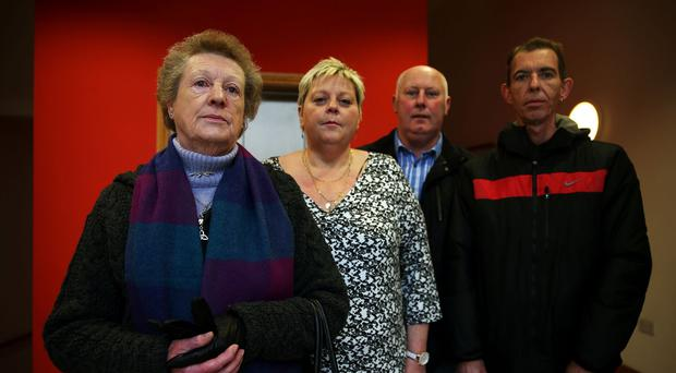 Margaret Campbell, whose husband was shot dead by loyalists in 1973, with, from left, her daughter Donna Patrick-Campbell, son-in-law Patrick Barry, and son Patrick Campbell