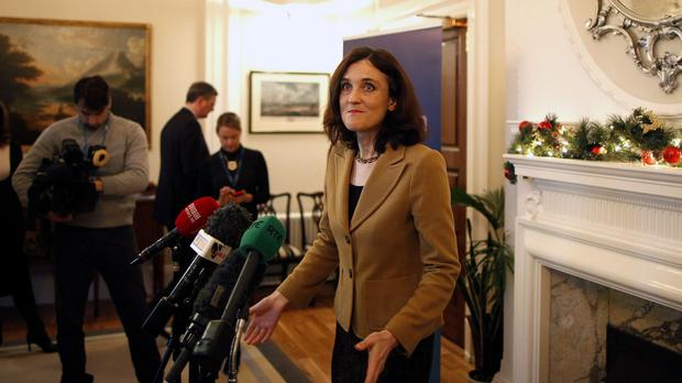Northern Ireland Secretary Theresa Villiers speaking during a press conference at Stormont