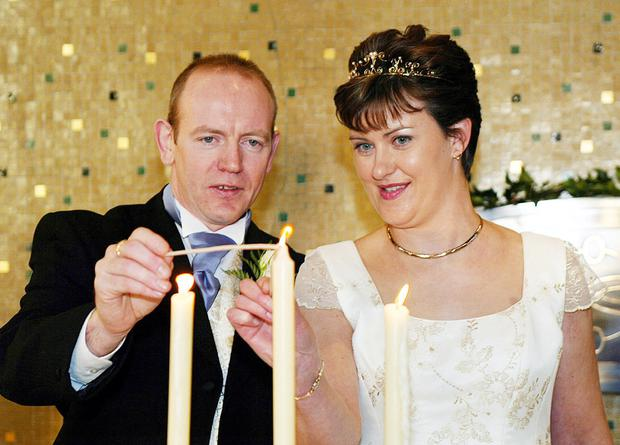 Pearse McAuley and his new wife Pauline on their wedding day in Kilnaleck, Co Cavan, in 2003