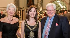 Pamela Ballantine with Lord Mayor Nichola Mallon and the manager of the Continental Market, Allan Hartwell, at the market's 10th anniversary celebrations