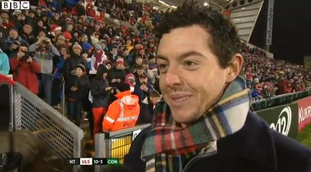 Rory reacts as Sweet Caroline plays at the Kingspan Stadium on Friday night