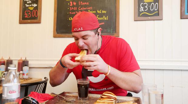 American Randy Santel took down the Newton Cafe's gut-buster in an impressive 10mins, 8secs