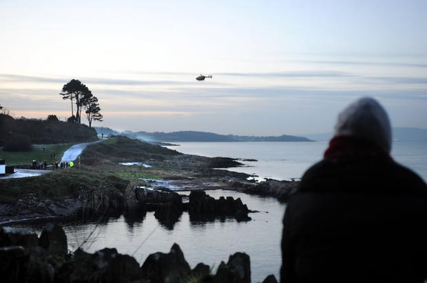 The search operation in Bangor Bay for the missing swimmer