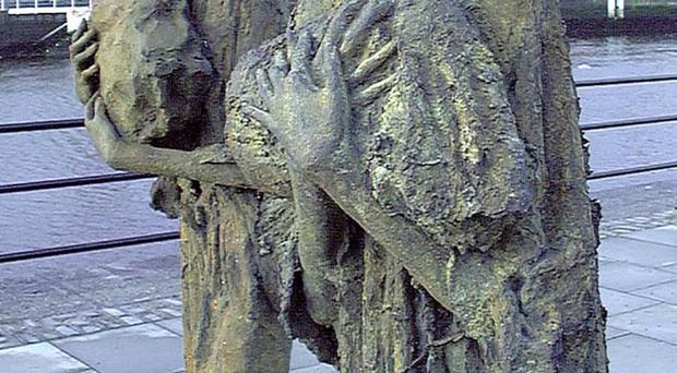 A statue in Dublin remembering the victims of Great Famine