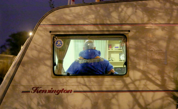 Gerald Solinas in a caravan at the protest camp at the junction of Twaddell Avenue and the Crumlin Road last night