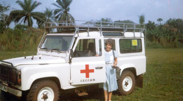 Maud with a new ambulance in the Democratic Republic of the Congo