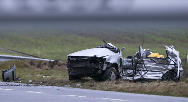 The scene of the crash near Athy, Co Kildare, which killed friends Niamh Doyle, Aisling Middleton, Gemma Nolan and Chermaine Carroll