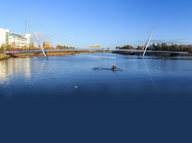 The preferred option for a proposed new foot and cycle bridge over the River Lagan has been announced by DRD Minister Danny Kennedy