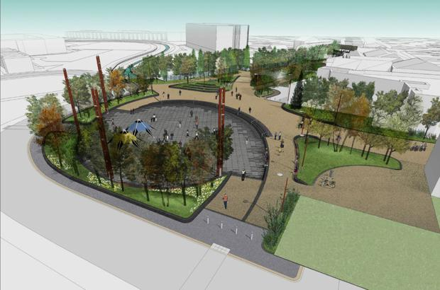 An artist's impression of how the new CS Lewis Plaza will look when it is finished