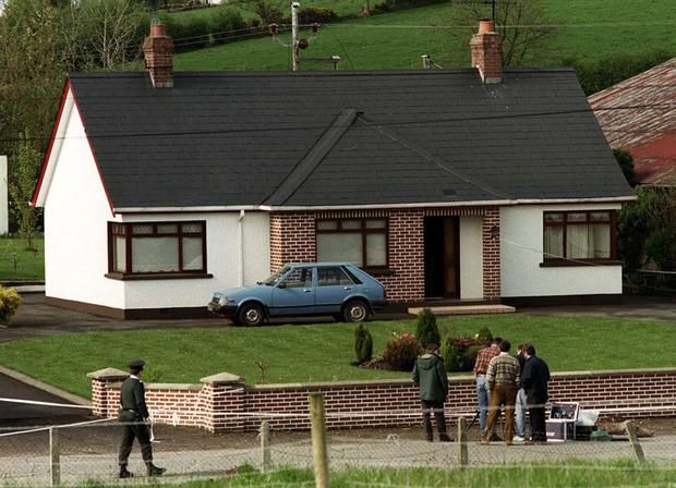 The scene outside the Co Tyrone house where Roseann Mallon was murdered in 1994