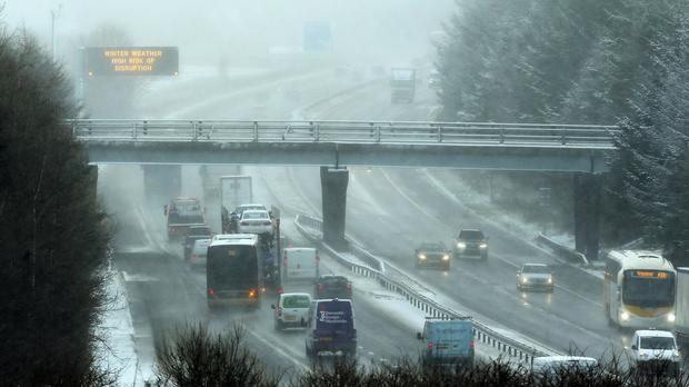 Traffic struggles on the M8 near Harthill Services in Scotland