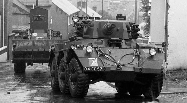 Armoured vehicles were used to bulldoze barriers in Catholic no-go areas during Operation Motorman