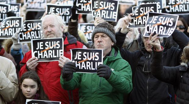 Demonstrators in Dublin showed solidarity with the Charlie Hebdo massacre victims