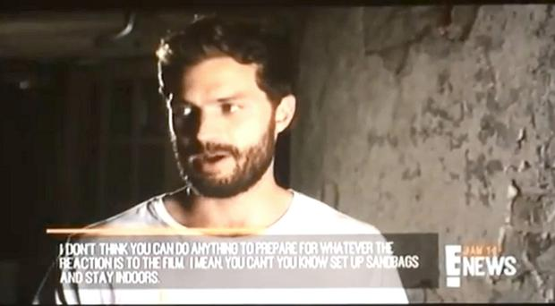 Plain speaking: Jamie Dornan during the TV interview in America which was subtitled for viewers