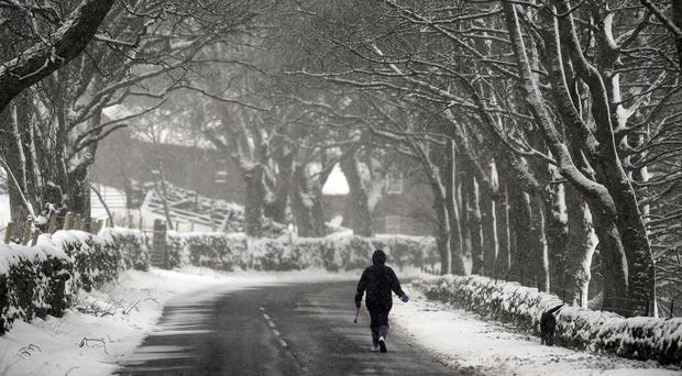 Fresh snow near Carrshield in Northumberland, as motorists were warned to take extra care on the roads in icy conditions