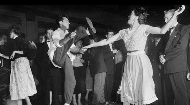 A couple dance at Belfast's Floral Hall