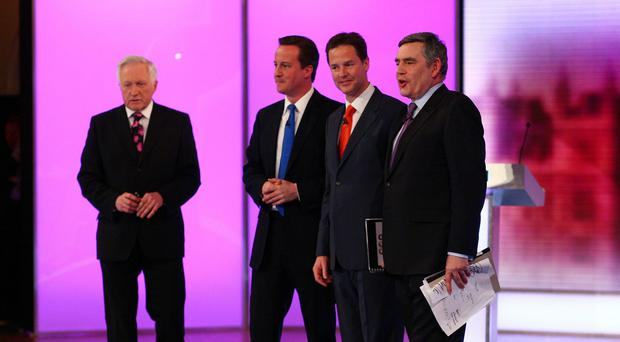 David Dimblebly with David Cameron, Nick Clegg and Gordon Brown after a 2010 election debate