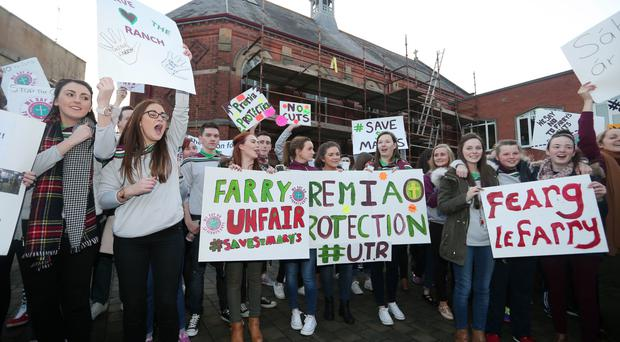Students at St Mary's teacher training college on the Falls Road in west Belfast protest yesterday over plans that threaten future of the institution