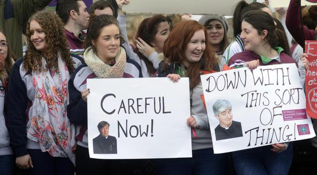 Students at St Mary's University College in west Belfast protesting at Stormont yesterday