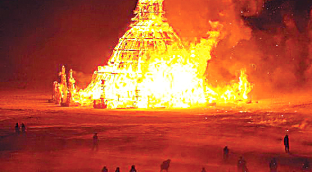 One of the towers created by renowned artist David Best for the Burning Man Festival in Nevada