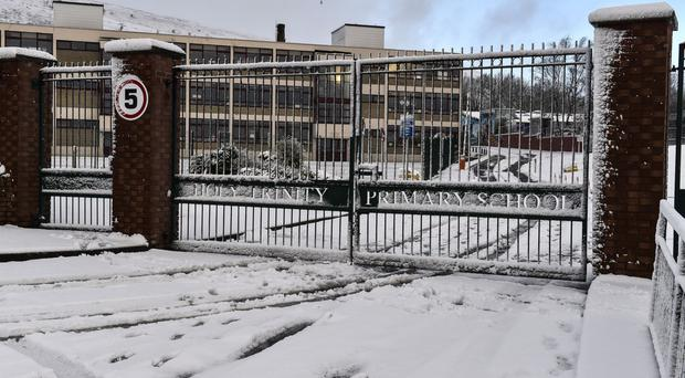 Holy Trinity Primary School in west Belfast closed yesterday