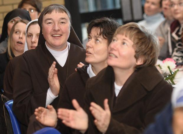 Martina Purdy (right) and other nuns from the Adoration Sisters order at St Patrick's Cathedral in Armagh