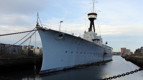 HMS Caroline moored in Belfast dock