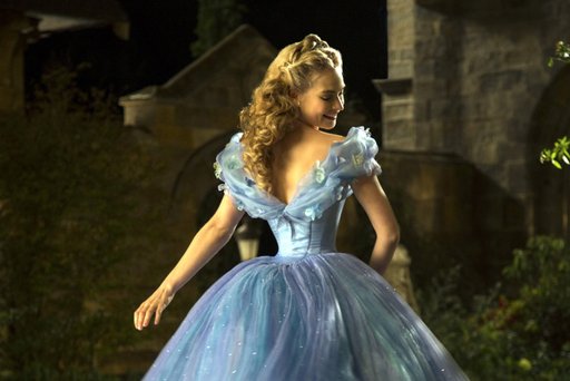 Tiny waist: Actress Lily James in the image for the Cinderella movie