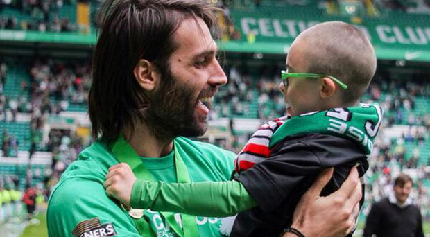 Georgios Samaras picked Jay Beatty out of the crowd to join Celtic's title celebrations last season