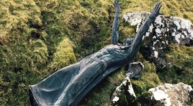 The Manannan Mac Lir statue when it was found after it disappeared from the Binevenagh Mountain near Limavady in Co Londonderry (MoD/Crown Copyright/PA)