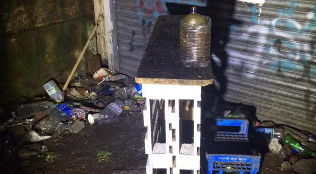 A bong recovered by police after the party in north Belfast