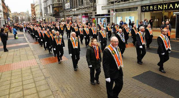 The annual memorial parade organised by the Ulster Defenders of the Realm LOL 710 to remember Brothers James Cummings and Fred Starrett, who were killed in an explosion in Royal Avenue in 1988
