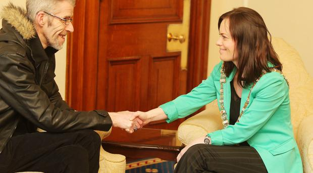 Paul Finlay-Dickson meets Lord Mayor of Belfast, Nichola Mallon, yesterday over the campaign of homophobic attacks on his house in north Belfast. Mr Finlay-Dickson recently lost his husband Maurice to cancer