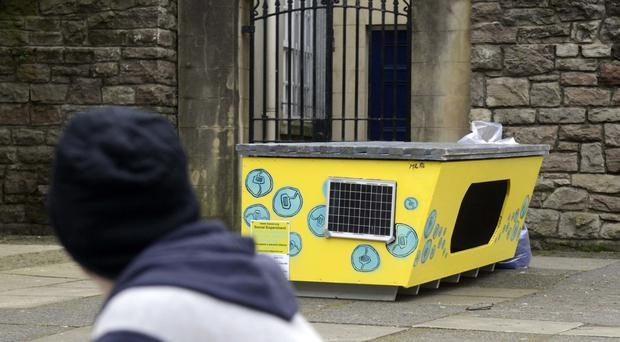 The homeless pod which was placed in Jubilee Gardens, Belfast