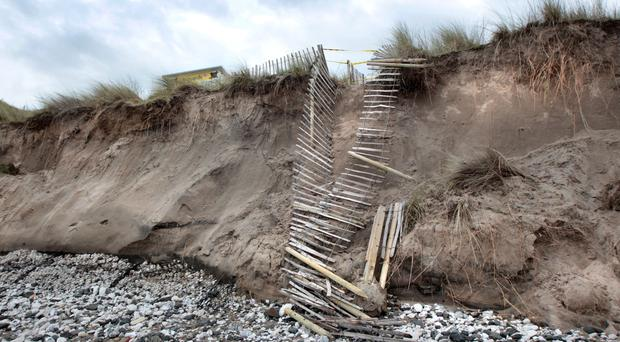 Damage caused to the beach and sand dunes at White Rocks on the outskirts of Portush after recent storms ravaged the coastline