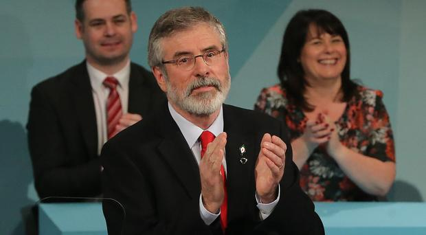 Gerry Adams said Sinn Fein would not 'prop up' an administration in Dublin led by mainstream parties Fine Gael or Fianna Fail