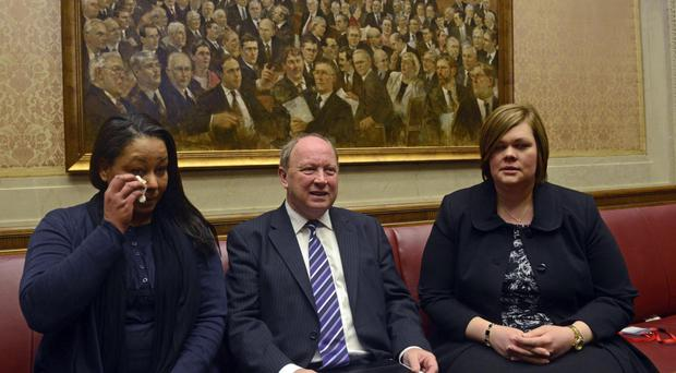 Victims of the Troubles, Melanie Anan and Ruth Patterson, with TUV leader Jim Allister, spoke to MLAs at Stormont