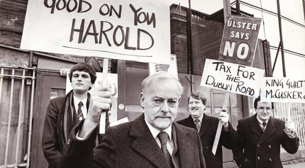 Jim Molyneaux at a protest event with fellow unionists