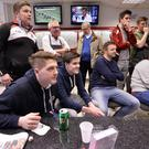 Punters watch the drama unfold during the Cheltenham Festival at McLean bookmakers on Belfast's Lisburn Road yesterday
