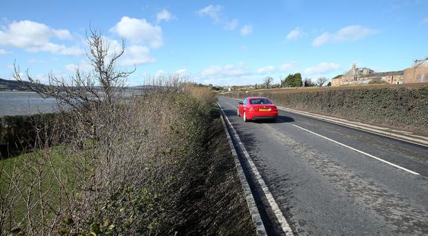 The section of the Portaferry road which the Lemons say is dangerously unstable