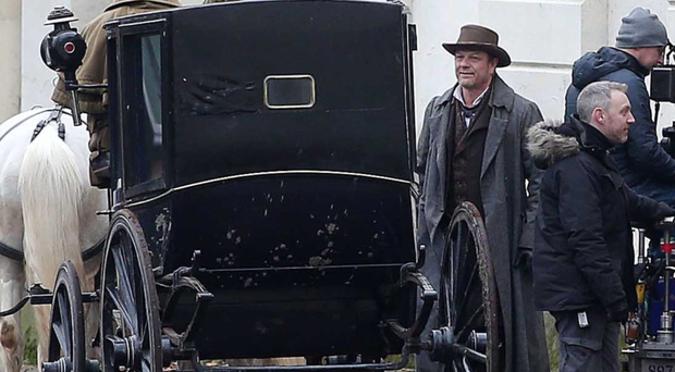 Sean Bean during the filming of Frankenstein Chronicles off University Road in Belfast
