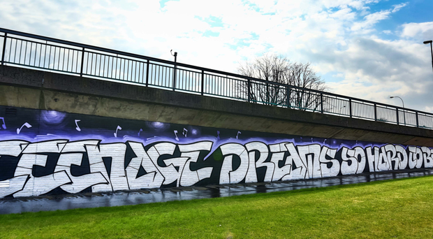 The mural paying tribute to The Understones' song Teenage Kicks, which has been repainted in east Belfast